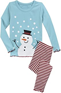 Image of Cute Ruffled Holiday Snowman Pajamas for Girls, Toddlers and Infants