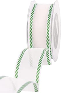 May Arts 1-1/2-Inch Wide Ribbon, Red and White Candy Cane Stripes