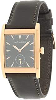 Movado Men's Heritage Brown Leather Band Steel Case Sapphire Crystal Swiss Quartz Black Dial Watch 3650042