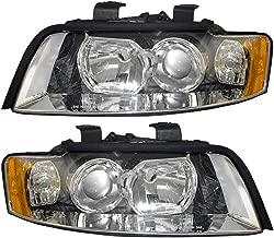 Driver and Passenger Halogen Headlights Headlamps Replacement for Audi 8E0 941 029 F 8E0 941 030 F AutoAndArt