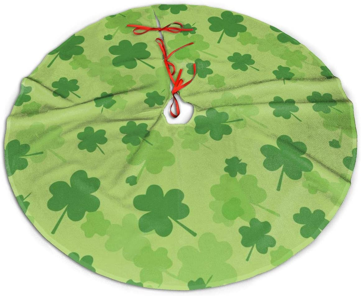 Patricks Day Tree Skirt Large Shamrocks Green Clover Leaves Mat Xmas Holiday Home Party Decorations 36inch One Bear St