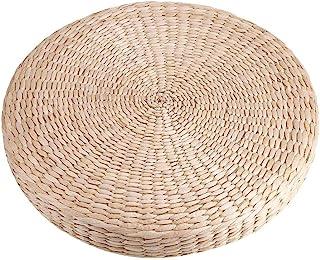 SANON Cojín de Tatami Puf Acolchado Redondo Estera de Paja de Yoga Suave Almohada de Piso Ecológica Sentado Jardín de Punto Comedor Decoración del Hogar Al Aire Libre 40 Cm