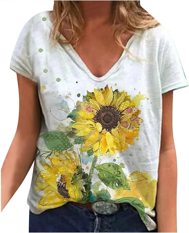 Women Casual Cotton Short Sleeve Sunflower Print Shirt Women's Slim Jacket T-Shirt Tops