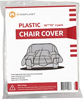 """Kingplast 2 Pack Plastic Chair Cover for Moving and Storage, 46""""x 76"""" Plastic Furniture Covers for Indoor Outdoor Patio"""