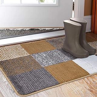 """Indoor Doormat 23""""x 35"""", Absorbent Front Back Door Mat Floor Mats, Rubber Backing Non Slip Door Mats Inside Mud Dirt Trapper Entrance Front Door Rug Carpet, Machine Washable Low Profile-Brown Lattice"""