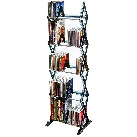 Fauzan_ruo 5 Tier Media Shelf DVD Tower Rack Game CD Display Organizer Stand Holder