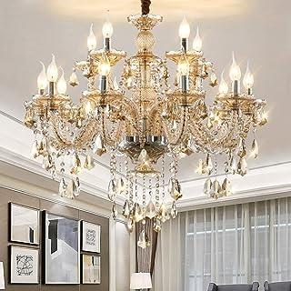 WEERUN LED E12 LED 3 Brightness Cognac Colour Crystal Candle Chandelier Ceiling Lights Fixture Lamp Chandelier Pendant Lights Lighting With 15pcs 5W E12 LED Bulbs (15L(D35.4  x H24.4 ))