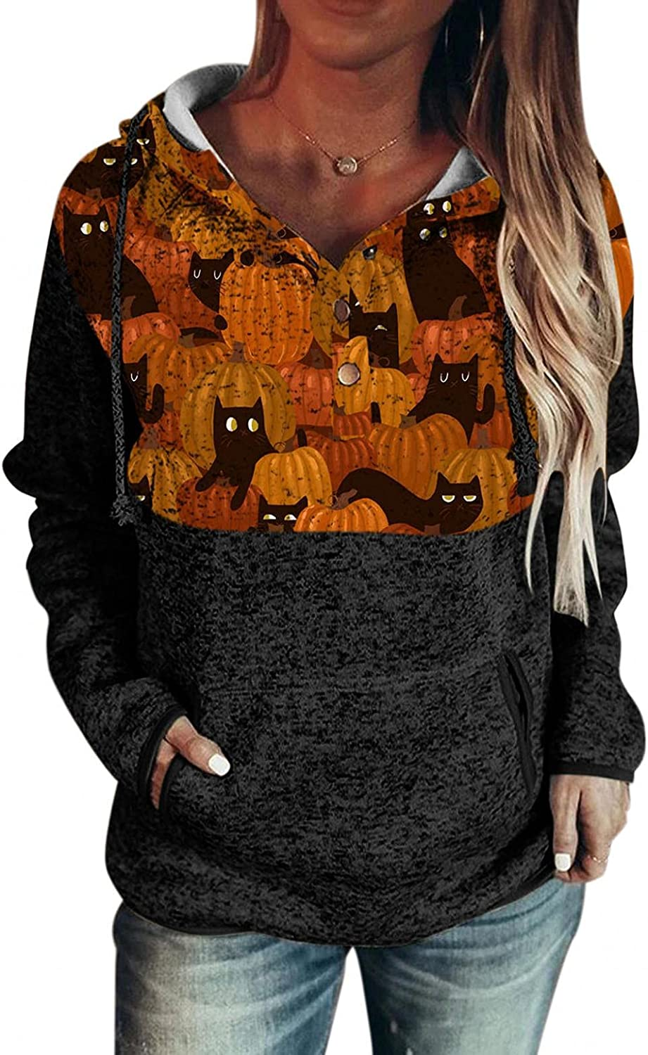 Hoodies for Women Pullover Drawstring Hooded Sweatshirts Lightweight Cute Cat Printed Button Long Sleeve Sweaters