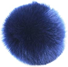 DIY 3.5INCH 12pcs Faux Fur Pom Pom Soft Faux PomPom Handmade Craft Supply (Navy Blue)