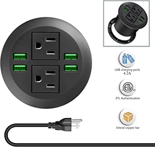 Desk Power Grommet Outlets with USB Ports, Recessed Power Strip Socket, Inserting 2 Plug 6.5 ft Extension Cord for Conference Room Office Kitchen Table