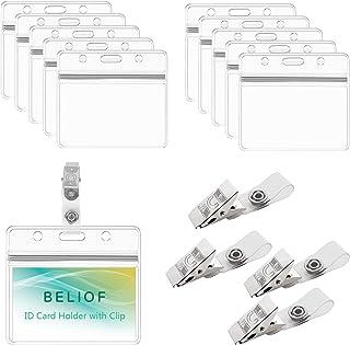 BELIOF 50 Sets de Clip à Badge et Porte-Badge Transparente Pour Suspendre Cartes d'Identité Outils pour Cartes Étudiants I...