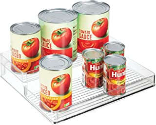 mDesign Plastic Kitchen Food Storage Organizer Shelves, Spice Rack Holder for Cabinet, Cupboard, Countertop, Pantry - Hold...