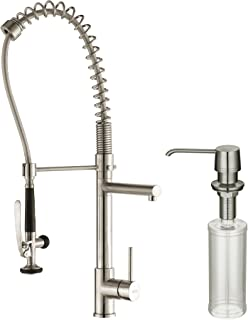 Kraus KPF-1602-KSD-30SS Single Handle Pull Down Kitchen Faucet Commercial Style Pre-Rinse in Stainless Steel Finish and Soap Dispenser