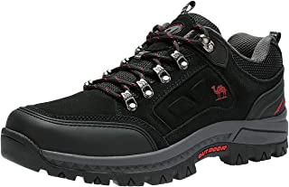 Men's Hiking Shoes Low-Cut Breathable Leather Casual Style Hiking Boots for Outdoors Trekking