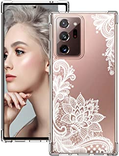Compatible with Samsung Galaxy Note 20 Ultra 5G Case Silicone Crystal Clear TPU Shockproof Bumper Flower Lace Pattern Prot...