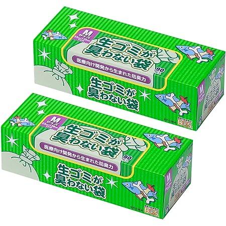 驚異の防臭袋 BOS (ボス) 生ゴミが臭わない袋 2個セット 生ゴミ処理袋【袋カラー:白】 (Mサイズ 90枚入)