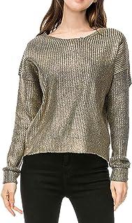 Women Fashion Loose Gold Metallic Knit Sweaters Pullovers Winter Tops