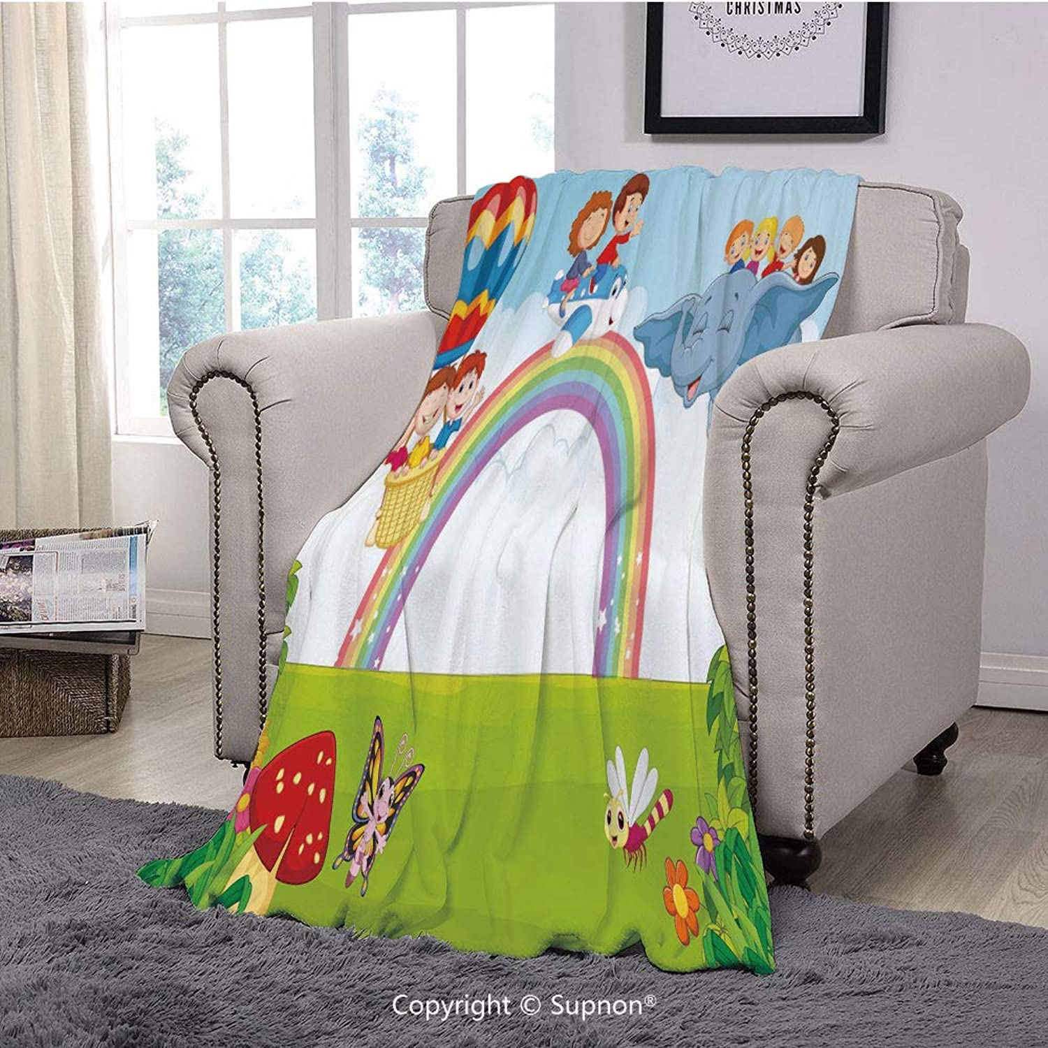 BeeMeng Printing Blanket Coral Plush Super Soft Decorative Throw Blanket,Rainbow,Cartoon Kids Flying on Baloon Plane and Elephant with Green Field and a Rainbow Decorative,Multicolor(59  x 59 )