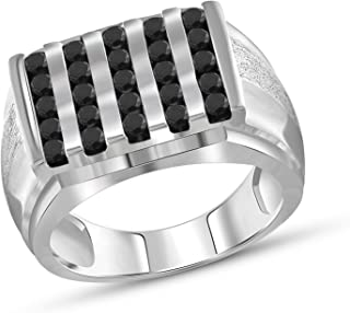 Jewelexcess 1.00 Carat T.W. Black Diamonds Sterling Silver Men's Ring