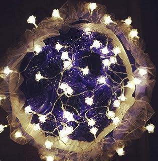 Luces Decorativas De Hadas Con Pilas Para El Dormitorio Rose Lantern Led Light String Rose Lantern Atmósfera Cubierta Festival De Bodas Vestir Intermitente@Color 10 Metros 100 Plug-In Light Models.