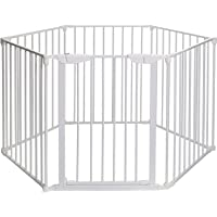 Teekland 6 Panels Fireplace Extended Metal Fence Baby Safety Gate (White)