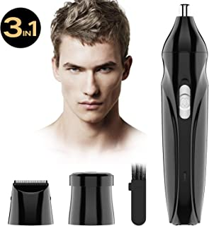 3 in 1 Nose Hair Trimmer for Man Eyebrow Trimmer Professional Ear and Nose Hair trimmer Rehargeable with LED Light for Men and Women, Wet/Dry, Washable