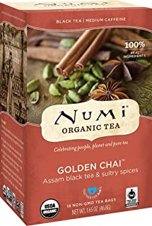 Numi Organic Tea Golden Chai, 18 Count Box of Tea Bags, Black Tea (Packaging May Vary)