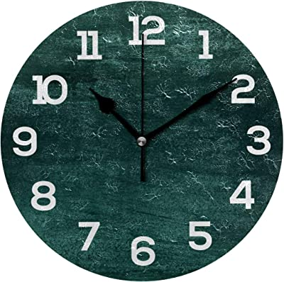 "Old Green Wal Modern 9.84"" Silent Non Ticking Wall Clock Battery Operated Acrylic Round Numerals Clock Painting Decorative for Home, Living Room, Bedrooms Walls Decor"