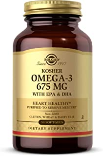 Solgar Kosher Omega-3 675 mg, 50 Softgels - Cardiovascular, Joint & Cellular Health - Omega-3 Fatty Acids EPA & DHA - Non-...