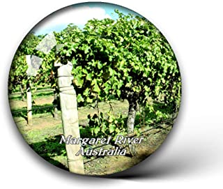 Australia Margaret River and Wine Tours Fridge Magnets Clear Crystal Glass for Refrigerator City Travel Souvenirs Funny Whiteboard Home Decorative Sticker Collection Gifts Round Magnet