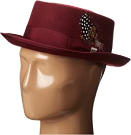 Stacy Adams - Pork Pie Wool Felt Hat w/ Grosgrain Band