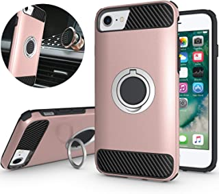 iPhone 6S Case,iPhone 7 Case,iPhone 8 Case,NiuBox 360 Degree Rotating Metal Ring Holder Kickstand Armor Defender Shock Absorption Protective Phone Cover Case for iPhone 6 6S/ 7/8 - Rose Gold