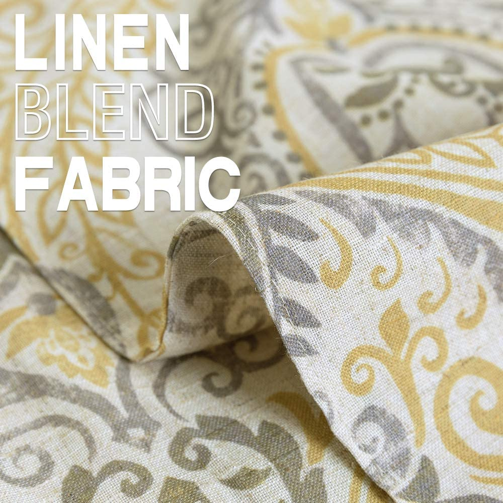 Table Cloth Linen Textured Scroll Patten Triangular Decorative Burlap Tablecovers Rustic Floral Design Handcrafted Flax Tablecloths 1 Panel 13 W x 72 L Yellow