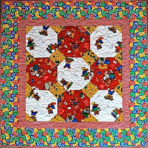 "Baby Bear Baby Quilt, Handmade Lap Quilt, Quilted Throw, Modern Patchwork Quilt for Sale, Homemade Quilt - Unisex - 34"" x 34"""