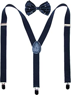 CTM® Men's Anchor Print Bow Tie with Solid Suspender Set, Anchor Set