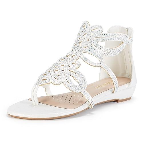 6122af2941a2 DREAM PAIRS Women s Jewel Rhinestones Design Ankle High Flat Sandals
