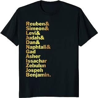 12 Twelve Tribes of Israel Shirt Hebrew Israelite Judah Yah