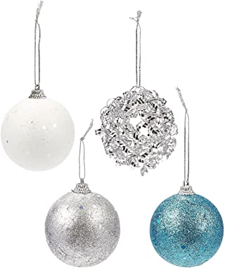 Juvale 28-Pack Christmas Tree Decorations - Glittery Xmas Ball Ornaments in 4 Assorted Designs - Perfect Festive DecorEmbellishments, 2.2 x 2.6 x 2.2 Inches, Blue, Silver, White