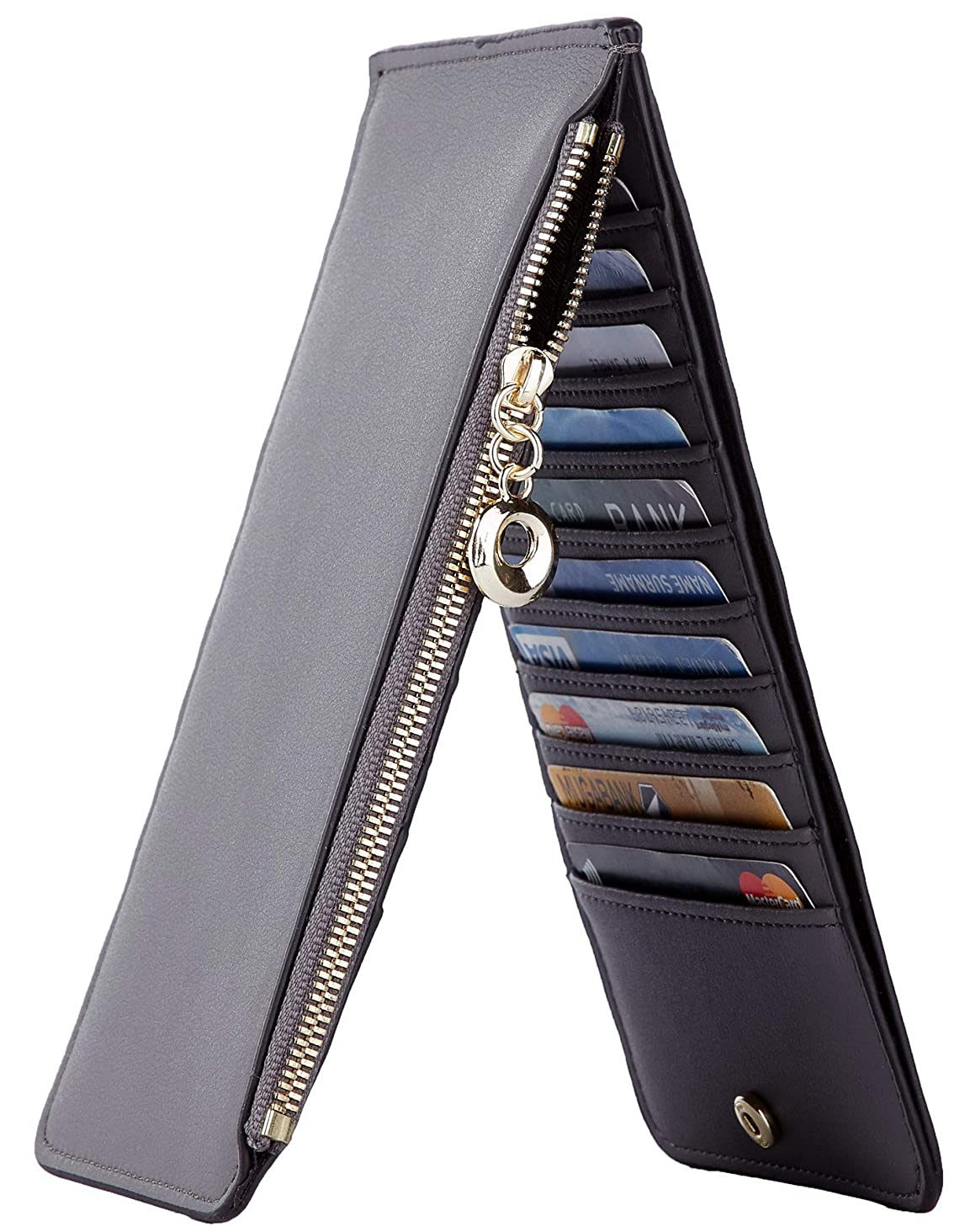 NapaWalli Womens RFID Blocking Genuine Leather Multi Card Organizer Wallet with Zipper Pocket