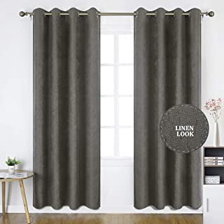 HOMEIDEAS Linen Curtains- Falling Star Faux Linen Textured Window Curtains for Bedroom and Living Room, Thermal Insulated Grommet Top Drapes (52 x 95 Inches, Dark Gray, 2 Panels)