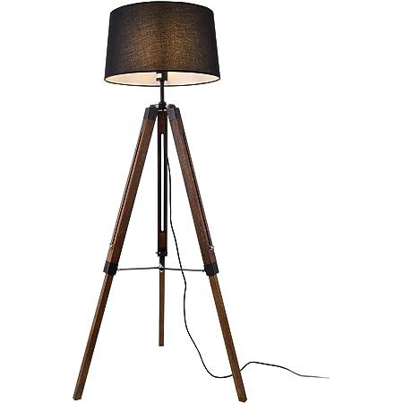 lux.pro Lampadaire Design Lampe à Pied Trépied avec Pieds en Bois et Métal Abat-Jour en Tissu E27 Hauteur 145 cm Bois Foncé Noir Blanc