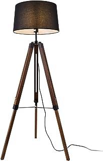 lux.pro Lampadaire Design Lampe à Pied Trépied avec Pieds en Bois et Métal Abat-Jour en Tissu E27 Hauteur 145 cm Bois Fonc...