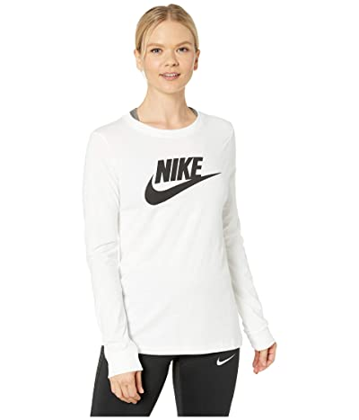 Nike NSW Tee Essential Long Sleeve Icon Futura (White/Black) Women