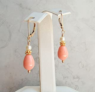 Pink Drop Faux Pearl Gold Fill Leverback Earrings Simulated Coral Color Gift Idea