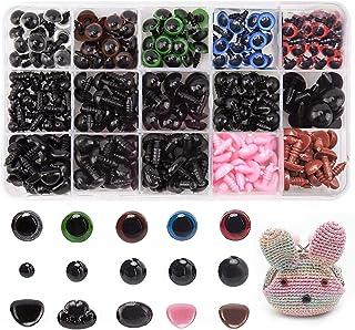 608 Pcs 6-14mm Yeux Colorés et Nez en Plastique, Yeux de Securite et Nez de Securite en Plastique 6-14 mm Yeux en Plastiqu...