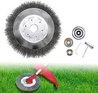 CDIYTOOL Cepillo de rueda de alambre de acero, cabezal de cortadora de hierba, cortador de césped anudado, cepillo de hierba de 20,32 cm para cortacésped, acero amoladora de ángulo, accesorio