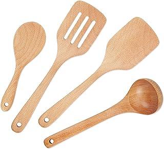 Wooden Cooking Utensils, 4-Piece Wood Cooking Spoons, IQCWOOD Cooking Utensil Set, Wood Spoon for Nonstick Cookware, Wooden Utensils Set for Kitchen, Housewarming Gifts