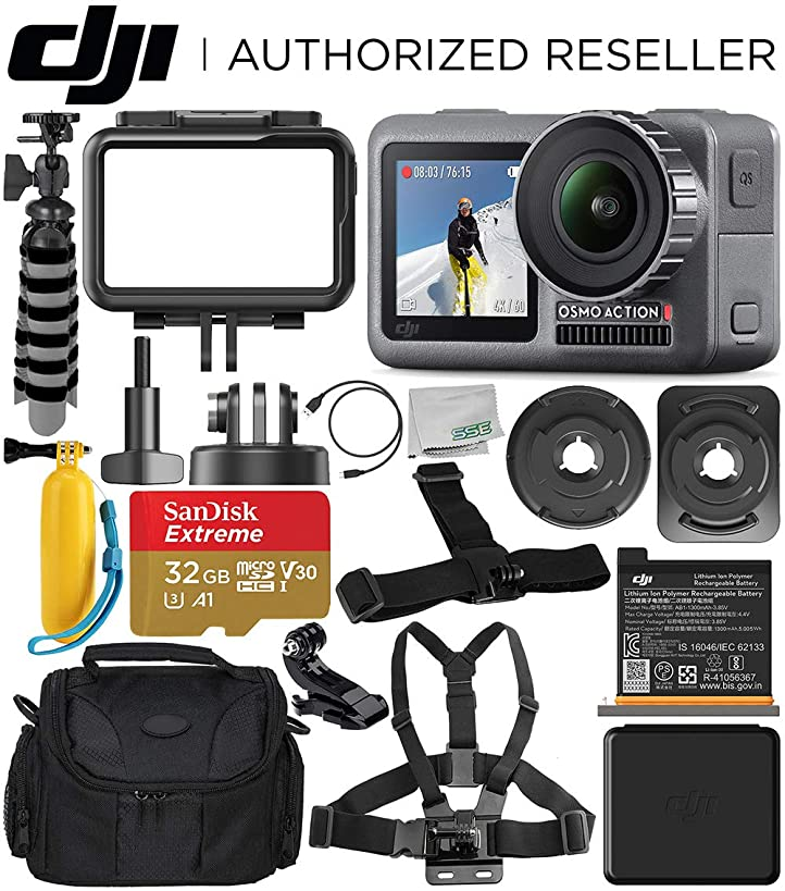 DJI Osmo Action 4K Camera with 32GB Starter Accessory Bundle – Includes: SanDisk Extreme 32GB microSDHC Memory Card + Carrying Case + Floating Handle + Flexible Tripod + J-Hook Mount + More