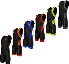 بدلة سباق ثلاثية للرجال من SPARX بتصميم Triathlon بدلة سباقات ثلاثية 2 جيوب من القماش الإيطالي الواقي من الأشعة فوق البنفس...