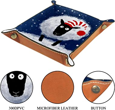 Leather Valet Tray Multi-Purpose storage box Tray Organizer Used for storage of small accessories,sheep happy new year
